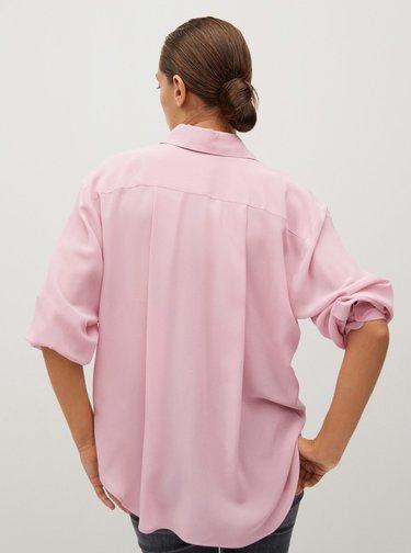 Růžová volná hedvábná košile Mango