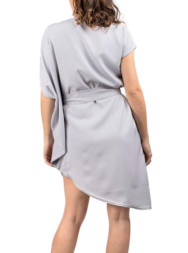 Simpo šedé asymetrické šaty Storm s páskem