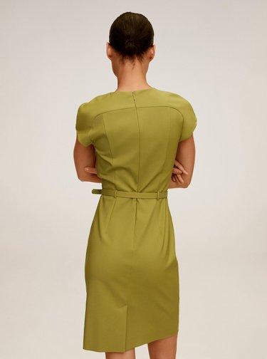 Zelené pouzdrové šaty s páskem Mango