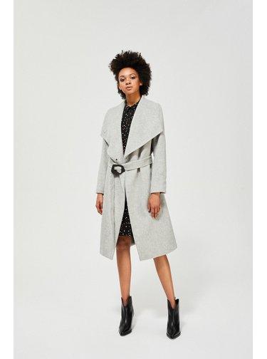 Moodo šedý kabát s páskem