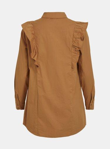 Hnedá košeľa s volánmi .OBJECT Gillian
