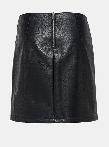 Čierna koženková sukňa s krokodýlím vzorom Jacqueline de Yong Val