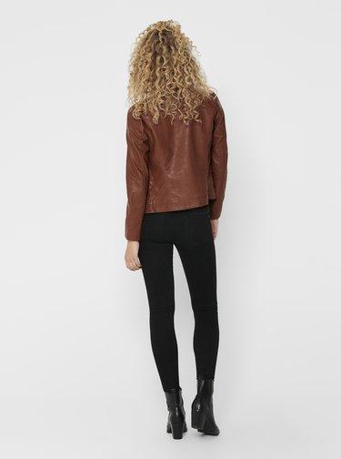 Hnedá koženková bunda Jacqueline de Yong Stormy