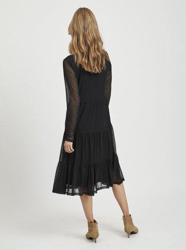 Černé šaty s průsvitnými rukávy VILA Davis