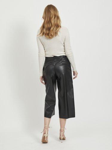 Černé koženkové culottes VILA Vivi