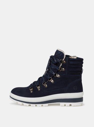 Tmavě modré dámské semišové zimní boty Tamaris