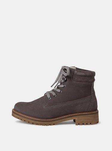 Šedé dámské kožené kotníkové boty Tamaris