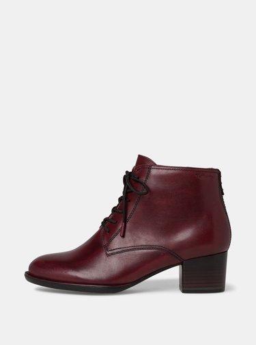Vínové dámské kožené kotníkové boty Tamaris