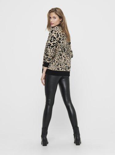 Béžový sveter s leopardím vzorom Jacqueline de Yong Lian