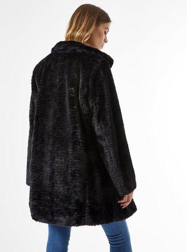 Čierny kabát z umelého kožúšku Dorothy Perkins