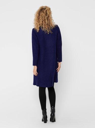 Tmavomodrý ľahký vlnený kabát ONLY Stacy