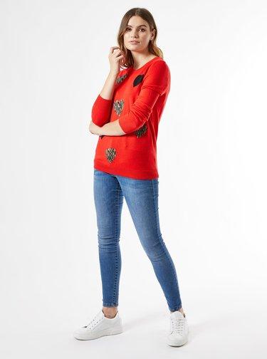 Červený vzorovaný sveter Dorothy Perkins