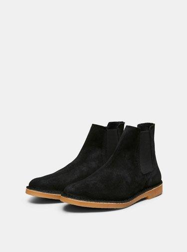 Černé semišové chelsea boty Selected Homme Royce
