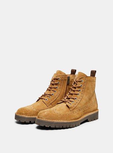Hnedé semišové členkové topánky Selected Homme Ricky