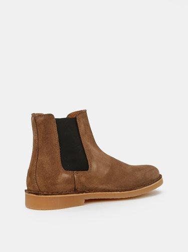 Hnedé semišové chelsea topánky Selected Homme Royce