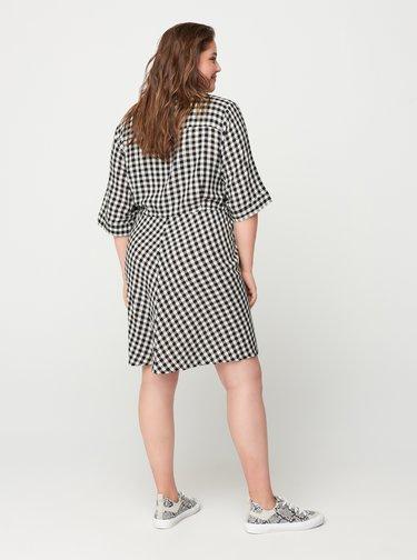 Bílo-černé kostkované košilové šaty Zizzi