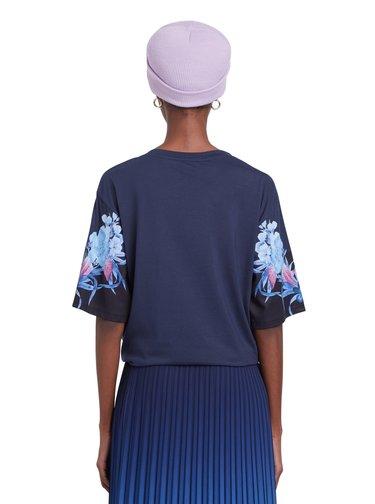 Desigual modré tričko TS Mirror s vázáním