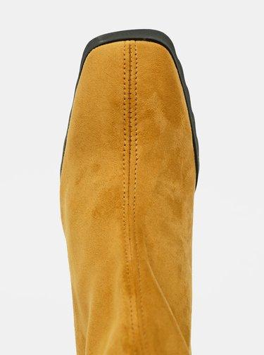 Horčicové členkové topánky v semišovej úprave OJJU