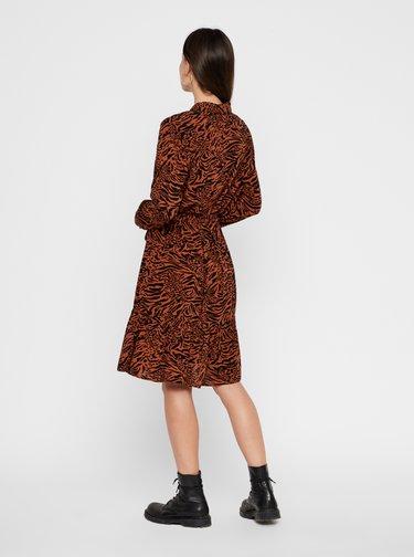 Hnedé vzorované košeľové šaty Pieces Brenna