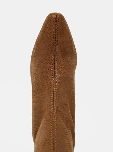 Hnedé členkové topánky v semišovej úprave s hadím vzorom OJJU