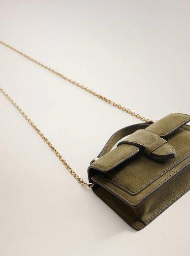 Khaki semišová crossbody kabelka Mango Jacoba