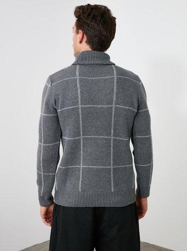 Šedý pánsky kockovaný sveter Trendyol