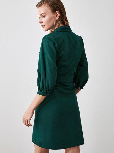 Tmavozelené košeľové šaty Trendyol