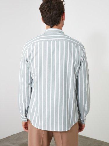 Bielo-modrá pánska pruhovaná košeľa Trendyol