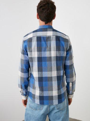Modrá pánská kostkovaná košile Trendyol