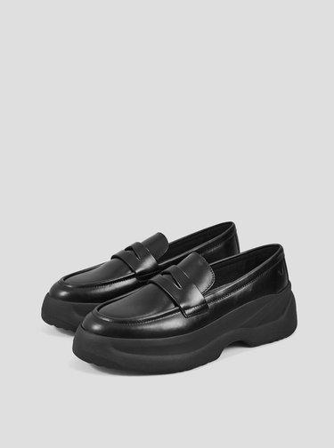 Černé dámské kožené mokasíny Vagabond