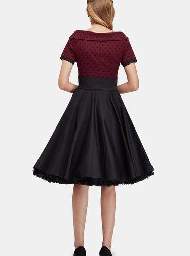 Vínovo-černé šaty s puntíkovaným topem Dolly & Dotty
