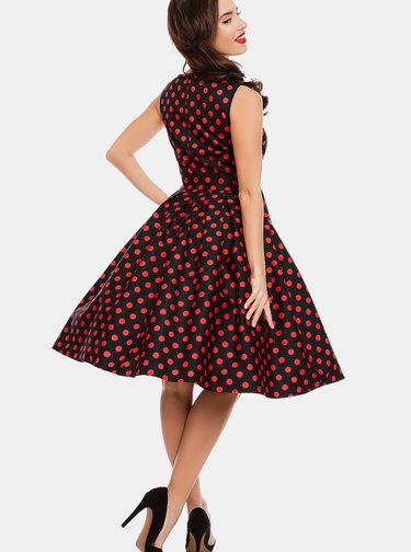Červeno-černé puntíkované šaty s páskem Dolly & Dotty Elizabeth