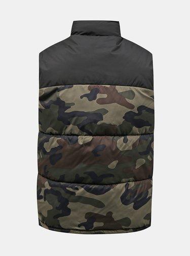 Khaki maskáčová prošívaná vesta Jack & Jones Drew