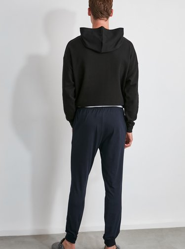 Tmavomodré pánske pyžamové nohavice Trendyol