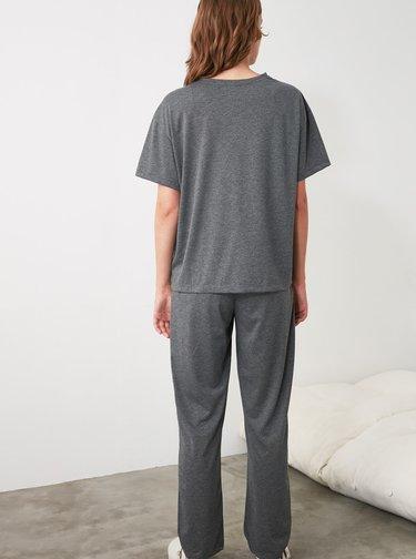 Šedé dámske pyžamo Trendyol