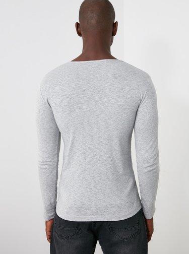 Světle šedé pánské tričko Trendyol