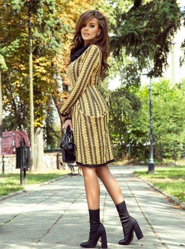 Rochii casual pentru femei numoco - galben, negru