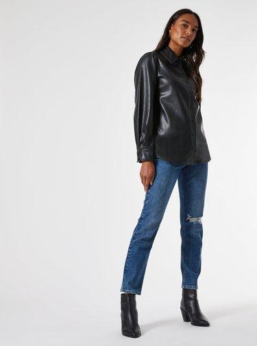 Černá koženková košile Dorothy Perkins