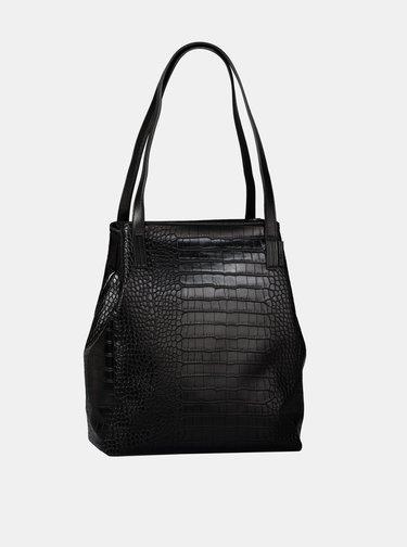 Čierny shopper s krokodýlím vzorom Tom Tailor Denim