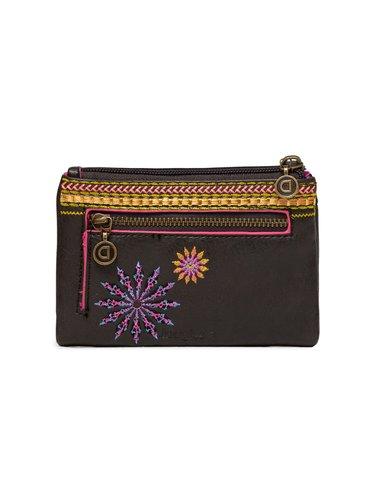 Desigual antracitová peněženka Mone Ada Pia Mini s výšivkou