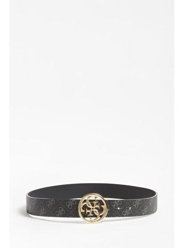 Guess černý oboustranný pásek Jensen 4 Logo Reversible Belt