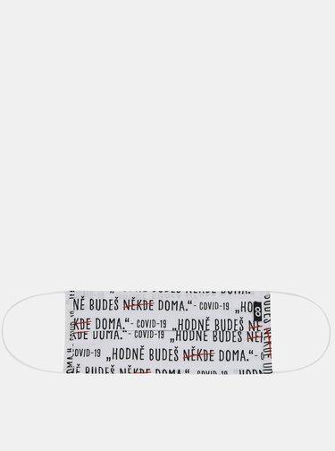 Biele rúško s potlačou ZOOT Home 20 x 8 cm