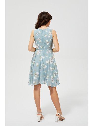 Moodo mentolově zelené šaty s květinami