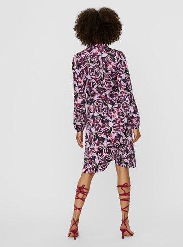 Fialové vzorované saténové zavinovací šaty VERO MODA Erin
