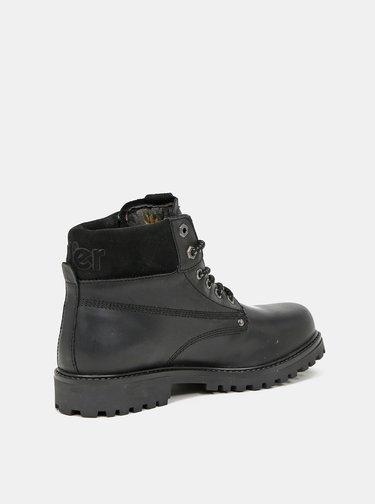 Černé pánské kožené zimní boty Wrangler