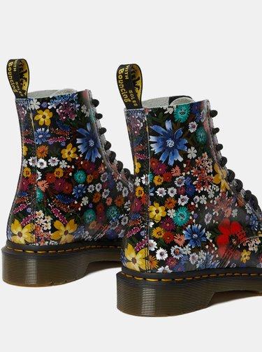 Tmavě modré dámské vzorované kožené kotníkové boty Dr. Martens