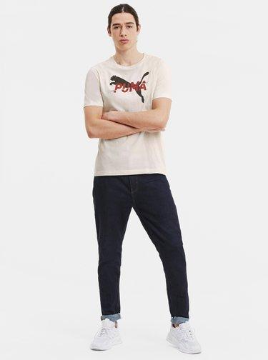 Krémové pánske tričko s potlačou Puma