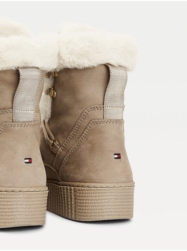 Tommy Hilfiger béžové zimní boty Tommy Warm Lined Lace Up Bootie Beige