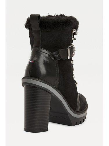 Tommy Hilfiger černé boty na podpatku Tommy Warm Lined High Heel boot Black s kožíškem