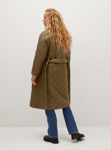 Hnědý prošívaný kabát Mango